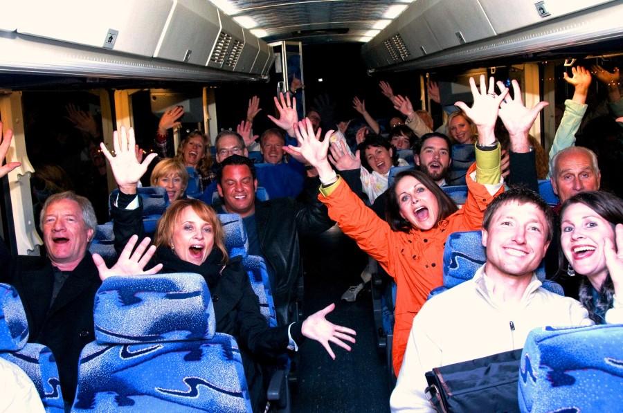 Cheerleaders on a bus